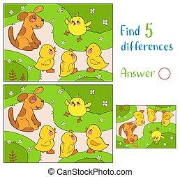 talál, pirítós, 10, puppy., sárga, differences., tenisznadrág, csirke