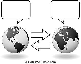 találkozik, nyugat, félgömbök, kommunikáció, fordítás, kelet