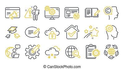 tal, protección, symbols., vector, coronavirus, informe, ciencia, escritor, iconos, conjunto, nube