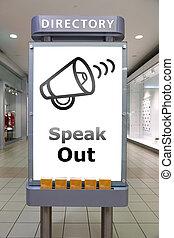 tala, ute, och, ledd signera, insida, köpcenter
