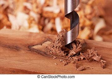 taladro, pedacito, madera, perforación
