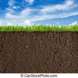 talaj, fű, és, ég, háttér