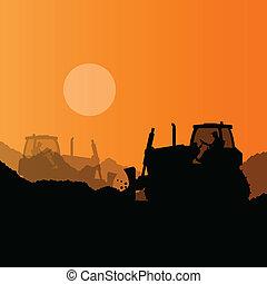 talajgyalu, ipari, kubikos, házhely, ábra, rakodómunkás, vektor, háttér, szerkesztés