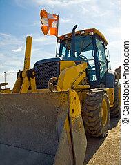 talajgyalu, munka hely, felszerelés, szerkesztés, parkolt