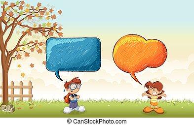 talande, bubblar, anförande, barn