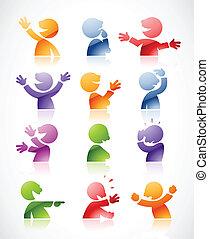 talande, färgrik, tecken