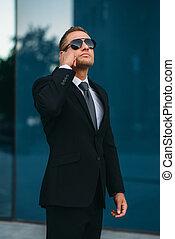 talande, kommunikation, livvakt, redskapen, earpiece