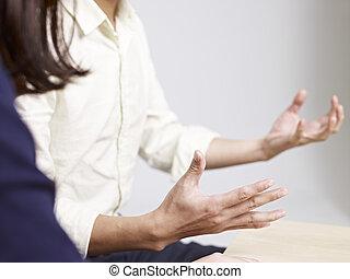 talande, man, ung, gest, hand
