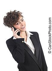 talande, mobil, affärskvinna, ringa, vacker