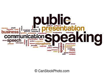 talande, ord, publik, moln