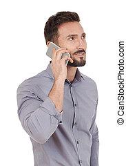 talande, på, den, rörlig telefonera
