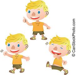 talande, söt, vandrande, blond, pojke