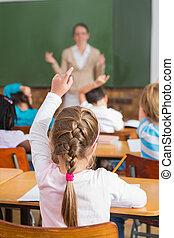 talande, ung, nätt, lärare