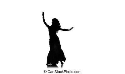 Talanted exotic belly dancer, wave her hair, shake hips, on white, slow motion, silhouette