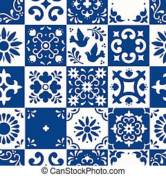 talavera, povo, mexicano, folhas, design., mosaico, white., pássaro, seamless, flor, azulejos, majolica, puebla., floral, cerâmico, clássicas, azul, méxico, estilo, tradicional, ornamentos, pattern., arte