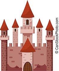 Tale castle icon, cartoon style