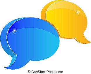 tale, eller, snakke, ikon
