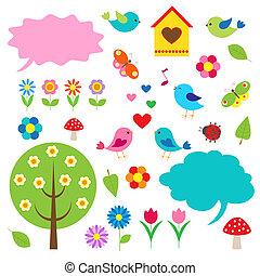 tale, fugle, bobler, træer