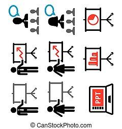 tale, sæt, vektor, firma, give, præsentation, folk, iconerne, belære, arbejde