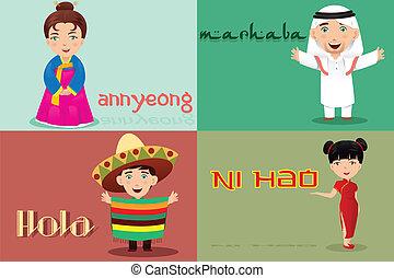 talemåde, forskellige, hallo, kulturer, folk