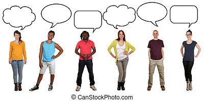 talemåde, gruppe, copyspace, folk, unge, tale, anskuelsen, ...