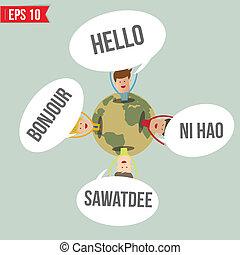 talen, zeggen, hallo, in, de wereld, -, vector, illustratie,...