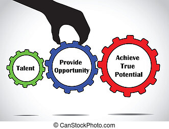 Talent will achieve true potential when given an opportunity concept design vector illustration art using different colorful gears