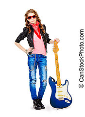 talent - Cute teen girl posing with her electric guitar....