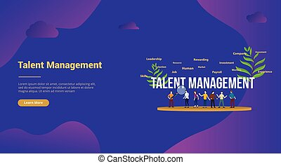 talent management concept with big text and team people for website template landing homepage - vector