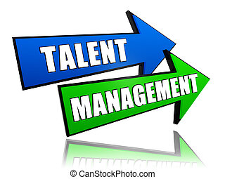 talent management in arrows - talent management - text in 3d...