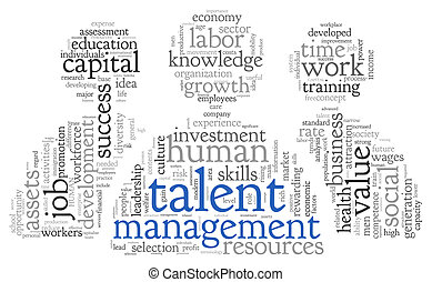 talent, management, woord, wolk, label