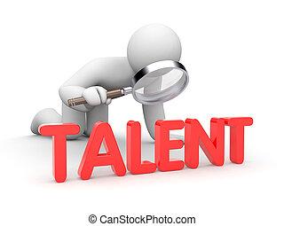 talent, mann, untersuchen, 3d, wort