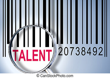 Talent under magnifyng glass on barcode
