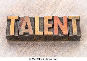 talent, résumé, bois, mot, type