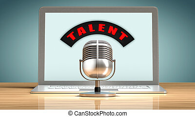Talent recruitment through the internet - Laptop in front of...