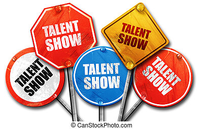 Talent Show 3d Rendering Rough Street Sign Collection
