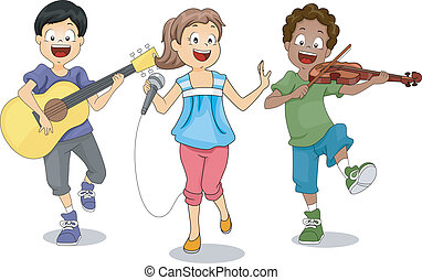 Illustration of Kids Demonstrating Their Talents
