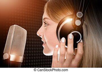 talent, stem, studio, vrouwlijk