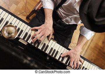 talent, vue dessus, jeune, virtuosity., piano, beau, jouer, homme