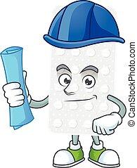 Talented Architect pills cartoon design style having blue ...