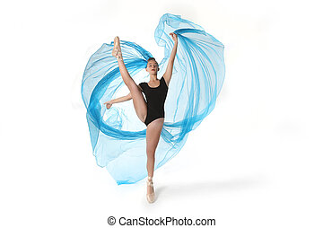 Talented Ballet Dancer in Studio on White Background