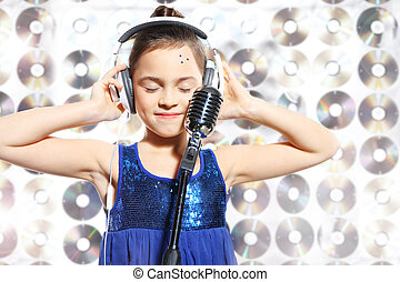 talented child - Child, teen, girl, singing into a...