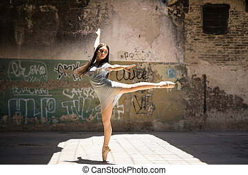 Talented dancer performing outdoors