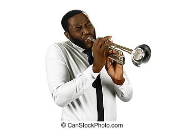 Talented man plays trumpet. - The power of music. Talented...