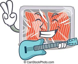 Talented musician of frozen salmon cartoon design playing a guitar