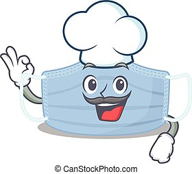 Talented surgical mask chef cartoon drawing wearing chef hat...