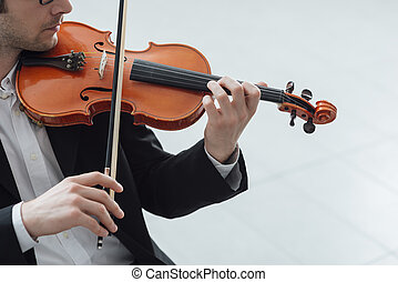 Talented violinist solo performance - Talented violinist and...