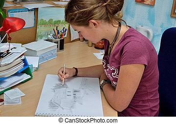 Talentierte Jugendliche beim Zeichnen - Junge Frau kreiert...