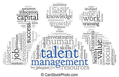 talento, amministrazione, parola, nuvola, etichetta
