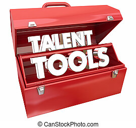 talento, attrezzi, toolbox, fomentare, abilità, educazione, 3d, render, illustrazione